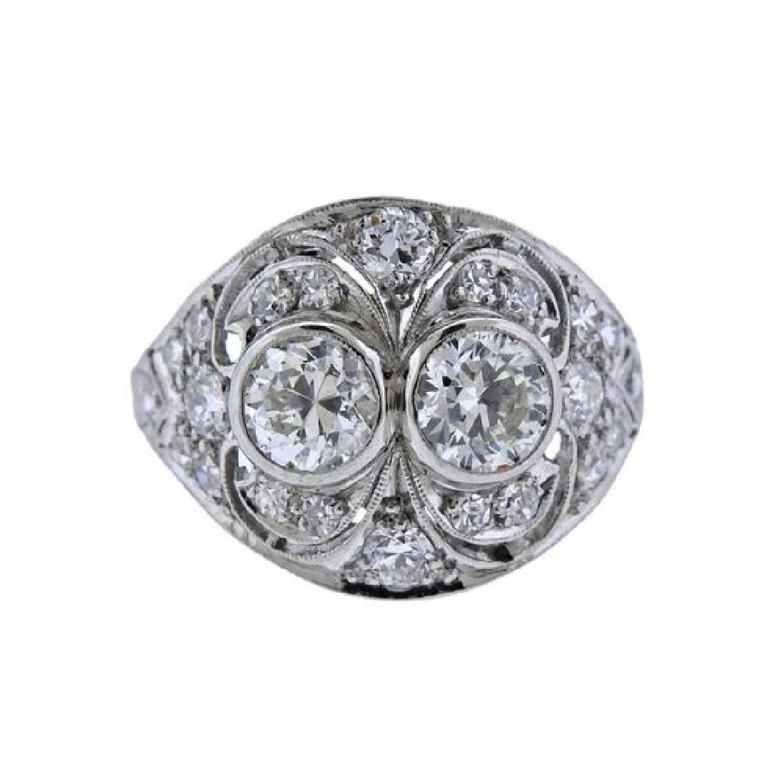 Art Deco Platinum Diamond Dome Ring