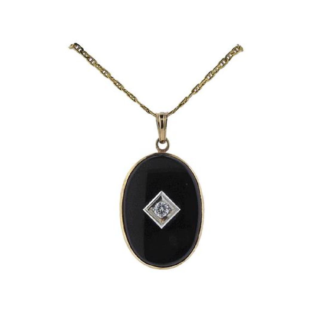 Gold Diamond Onyx Pendant Necklace
