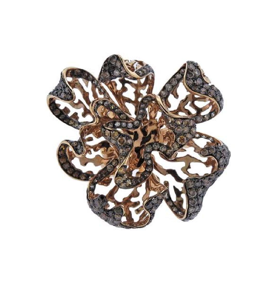 18K Gold Diamond Flower Cocktail Ring
