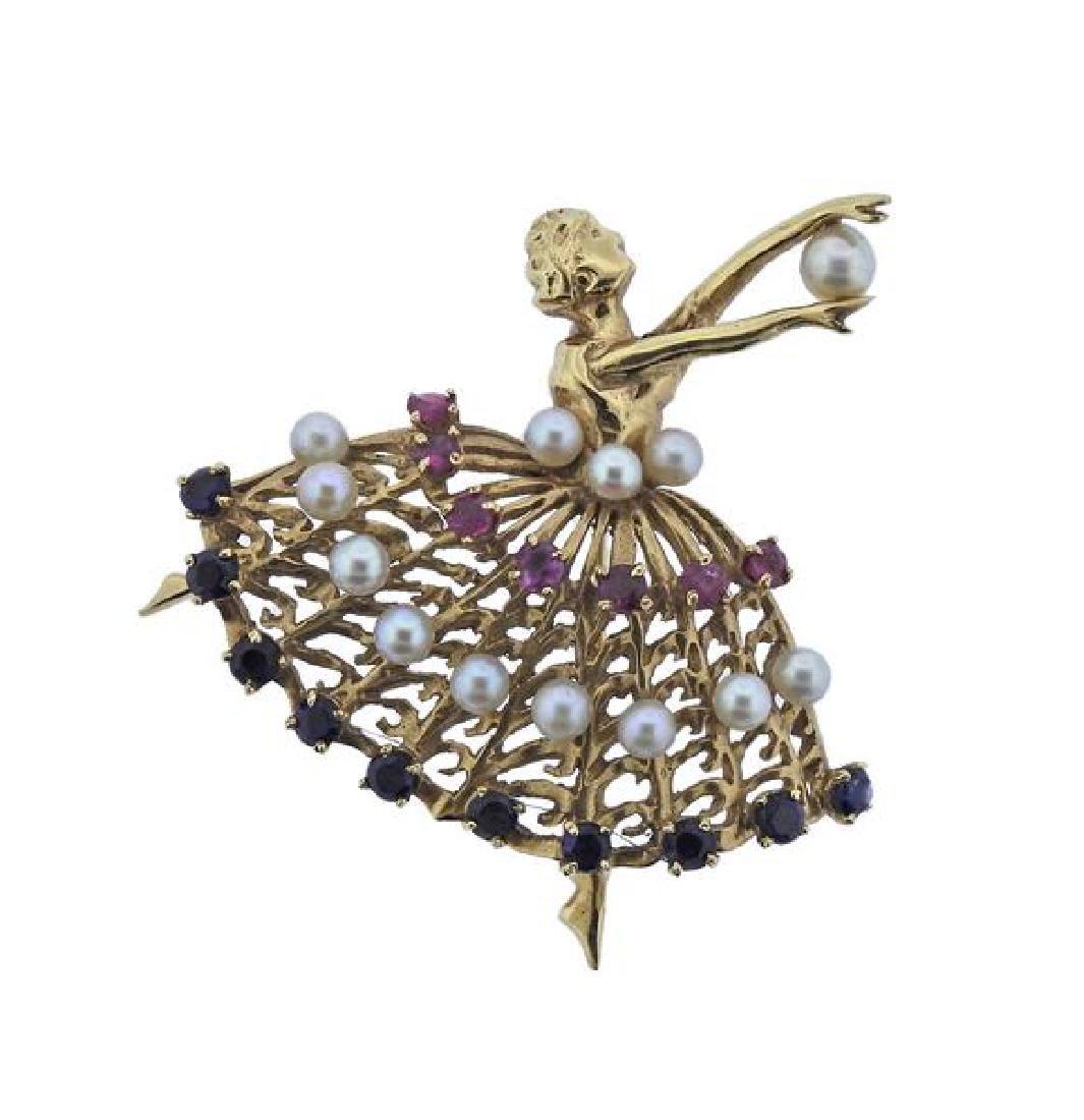 Retro 14k Gold Pearl Ruby Sapphire Ballerina Brooch