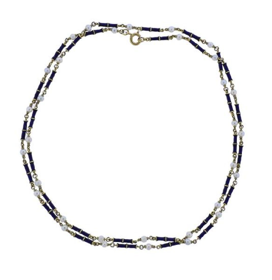 18k Gold Pearl Blue Enamel Necklace