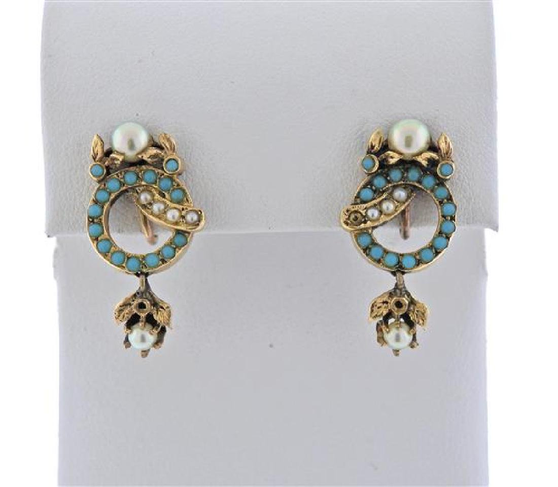 Antique 14k Gold Pearl Turquoise Earrings