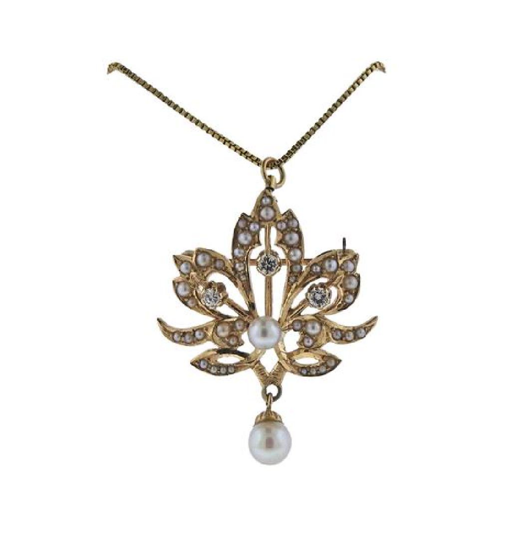 14k Gold Pearl Diamond Pendant Necklace