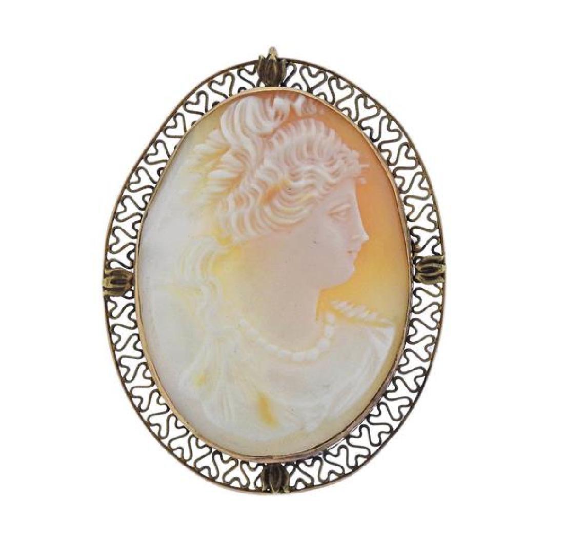 14k Gold Shell Cameo Brooch Pendant