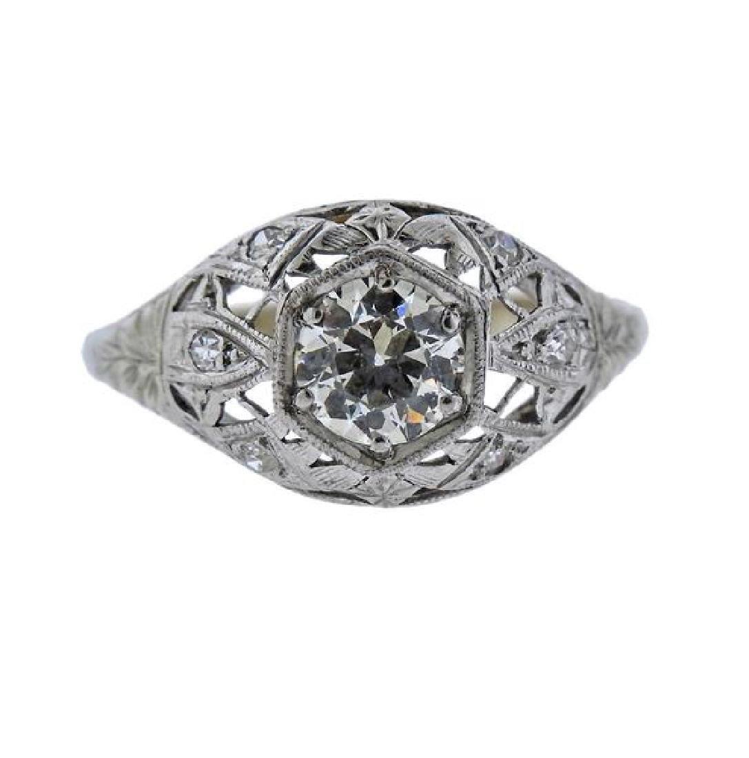 Art Deco Platinum Gold Diamond Engagement Ring