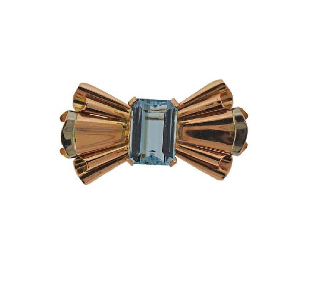 Retro 14k Gold Blue Stone Brooch Pin