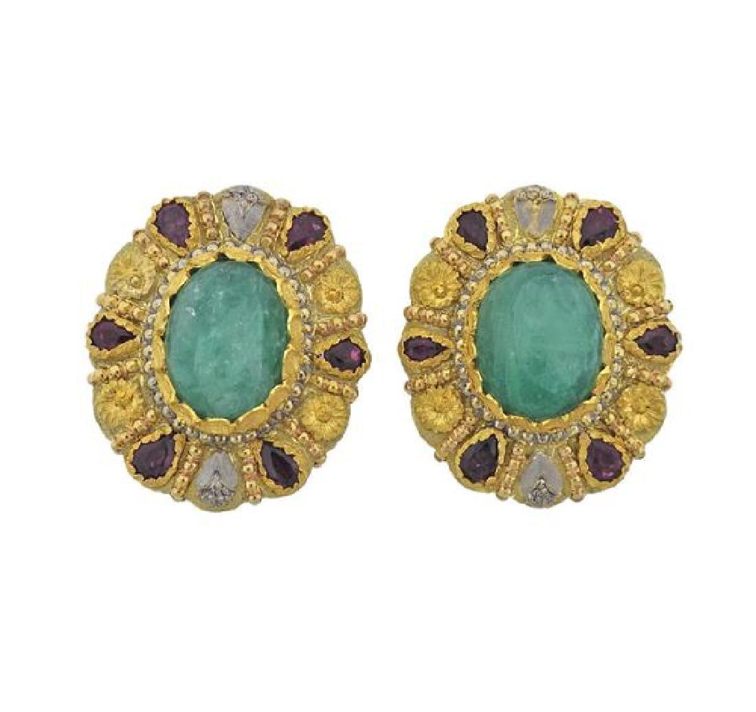 Cazzaniga 18k Gold Emerald Diamond Ruby Earrings