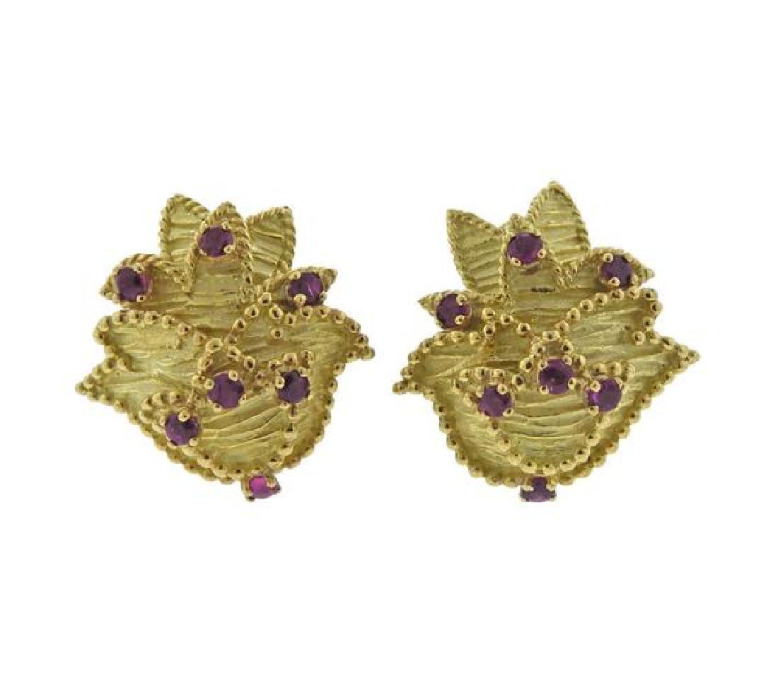 Tiffany & Co 18K Gold Ruby Earrings