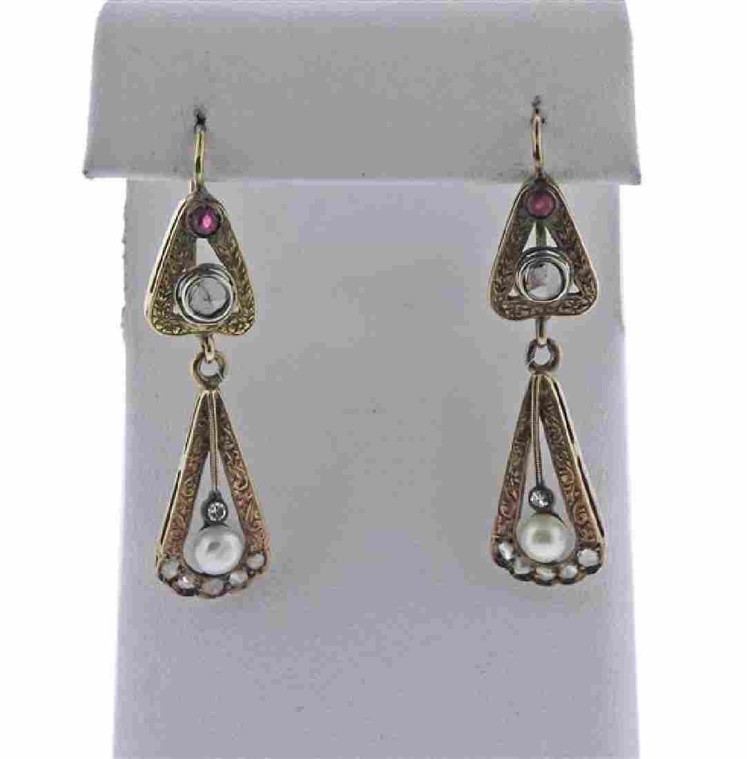 Antique 14K Gold Diamond Pearl Drop Earrings