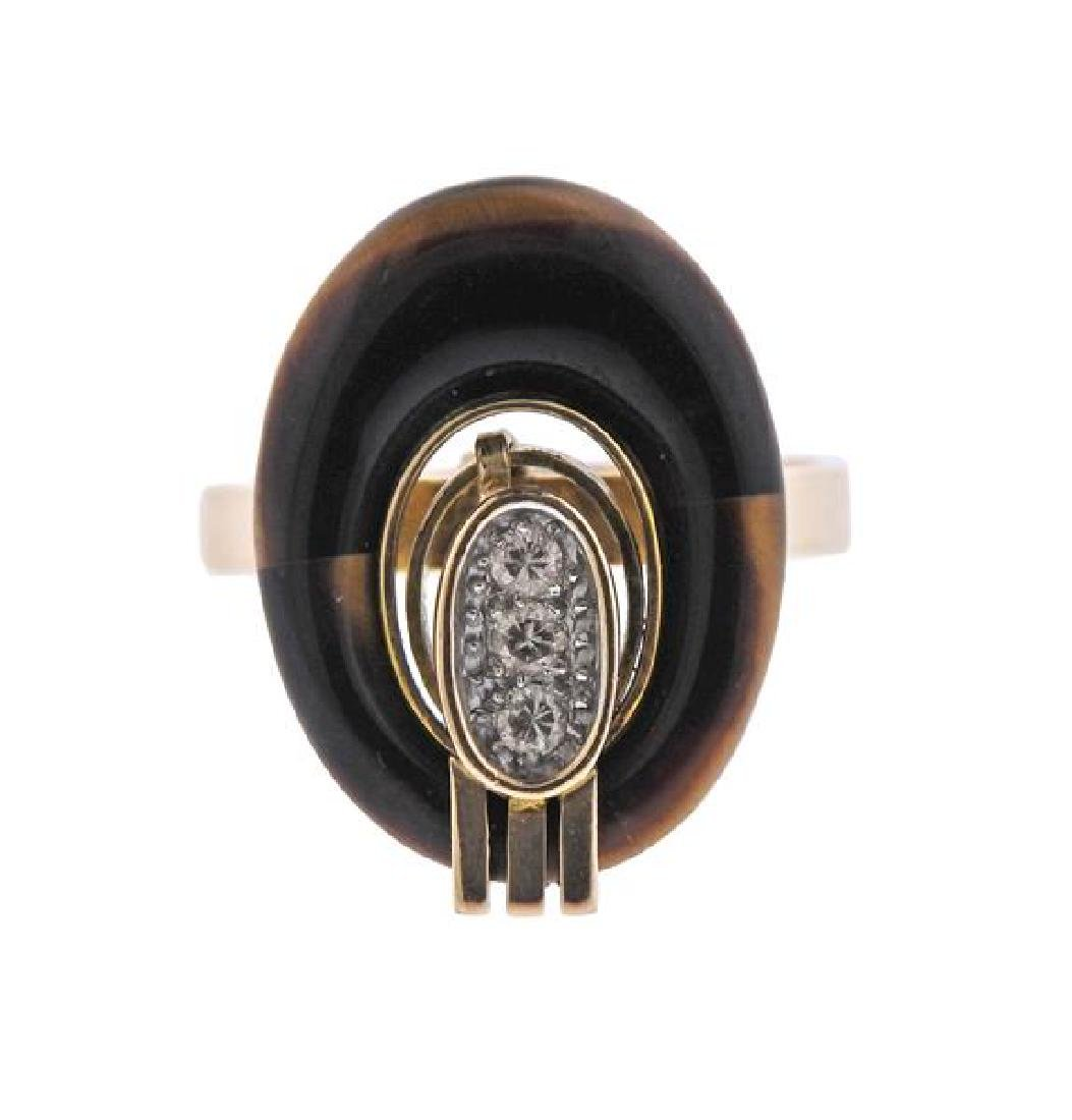 14K Gold Diamond Tiger's Eye Ring
