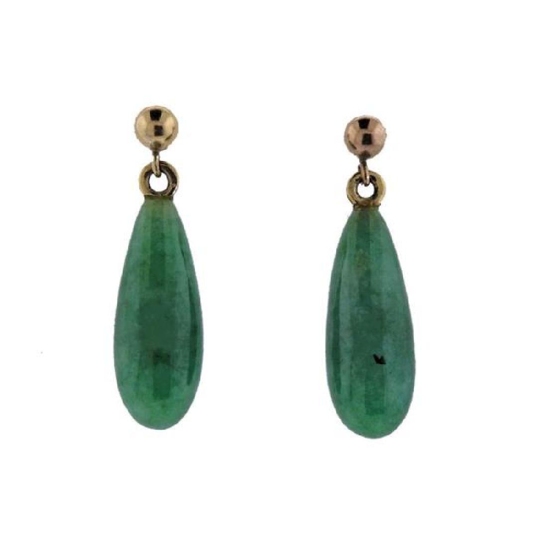 14K Gold Jade Drop Earrings