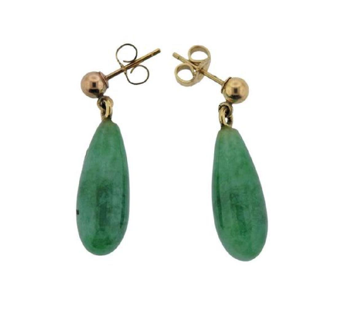 14K Gold Jade Drop Earrings - 2