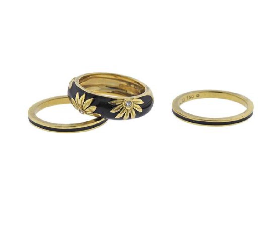 Hidalgo 18K Gold Diamond Enamel Band Ring Lot of 3 - 2