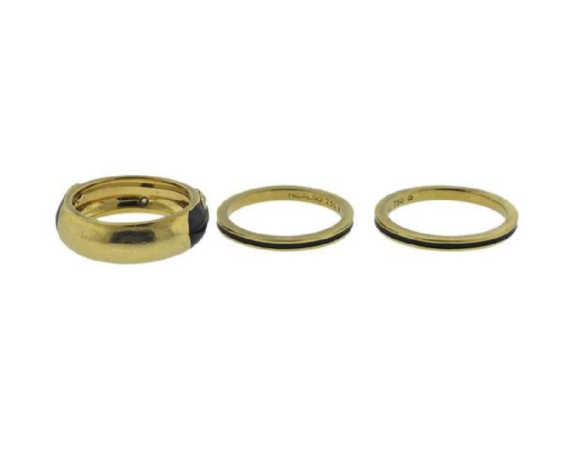 Hidalgo 18K Gold Diamond Enamel Band Ring Lot of 3 - 3