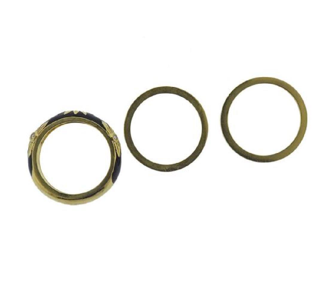 Hidalgo 18K Gold Diamond Enamel Band Ring Lot of 3 - 4