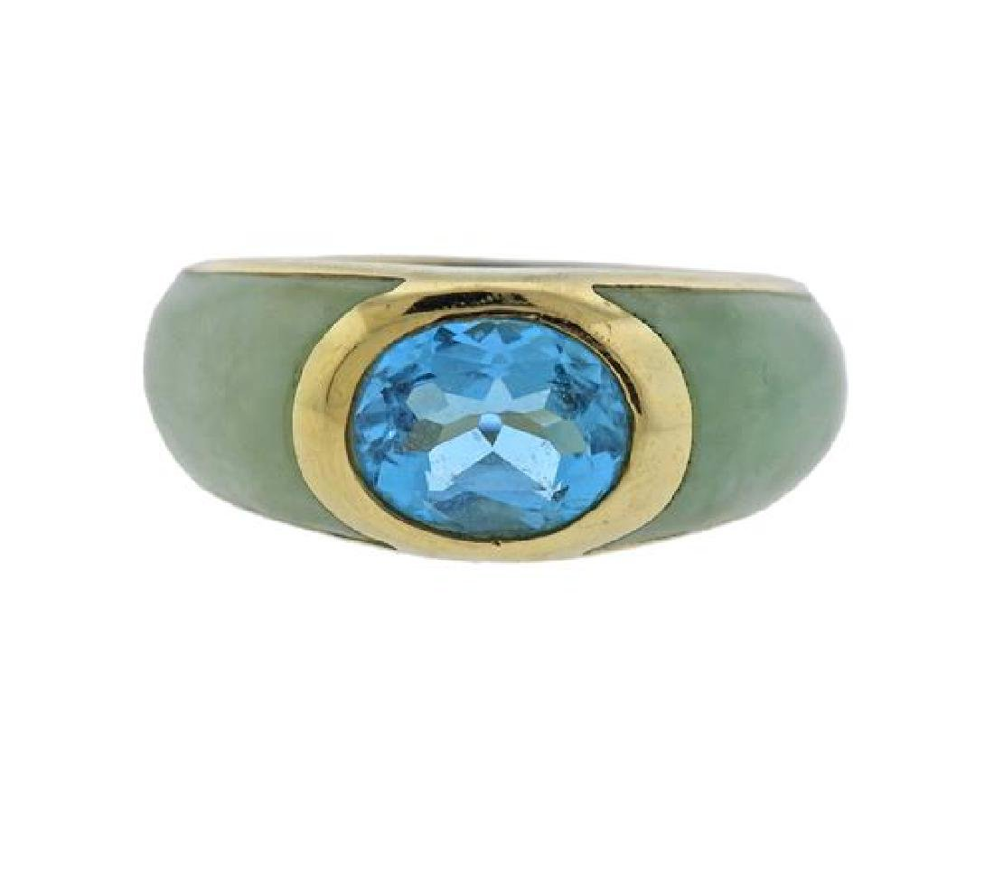 14K Gold Jade Blue Stone Ring