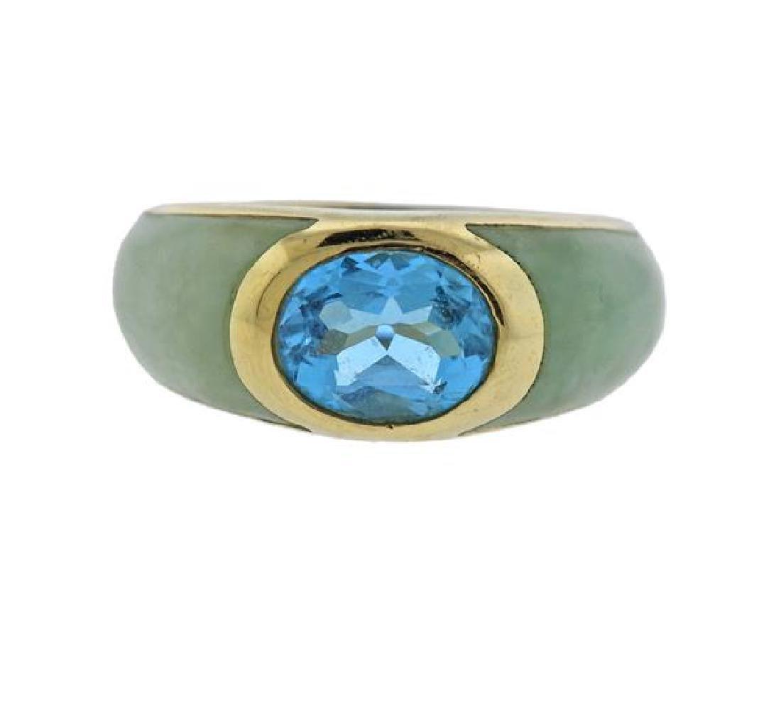 14K Gold Jade Blue Stone Ring