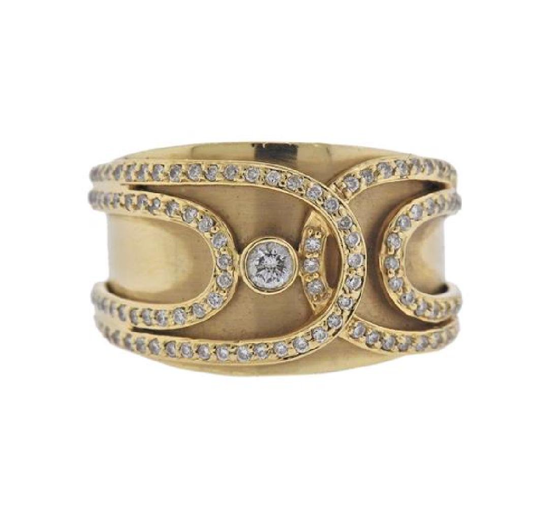 14K Gold Diamond Wide Band Ring