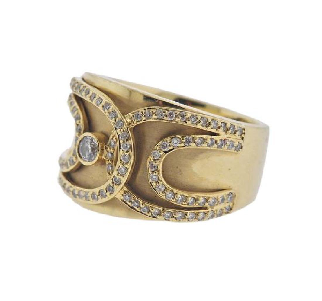 14K Gold Diamond Wide Band Ring - 2