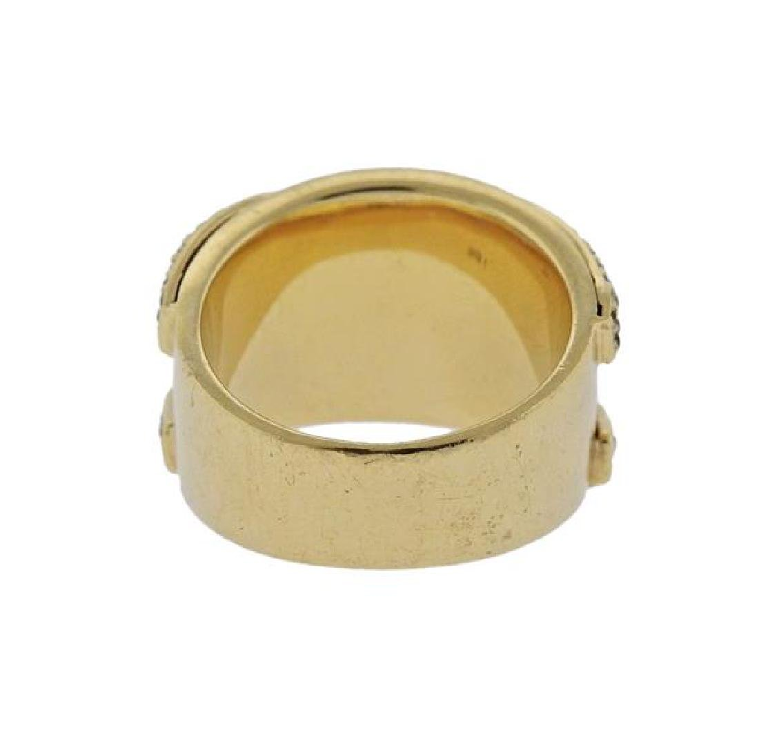 14K Gold Diamond Wide Band Ring - 3