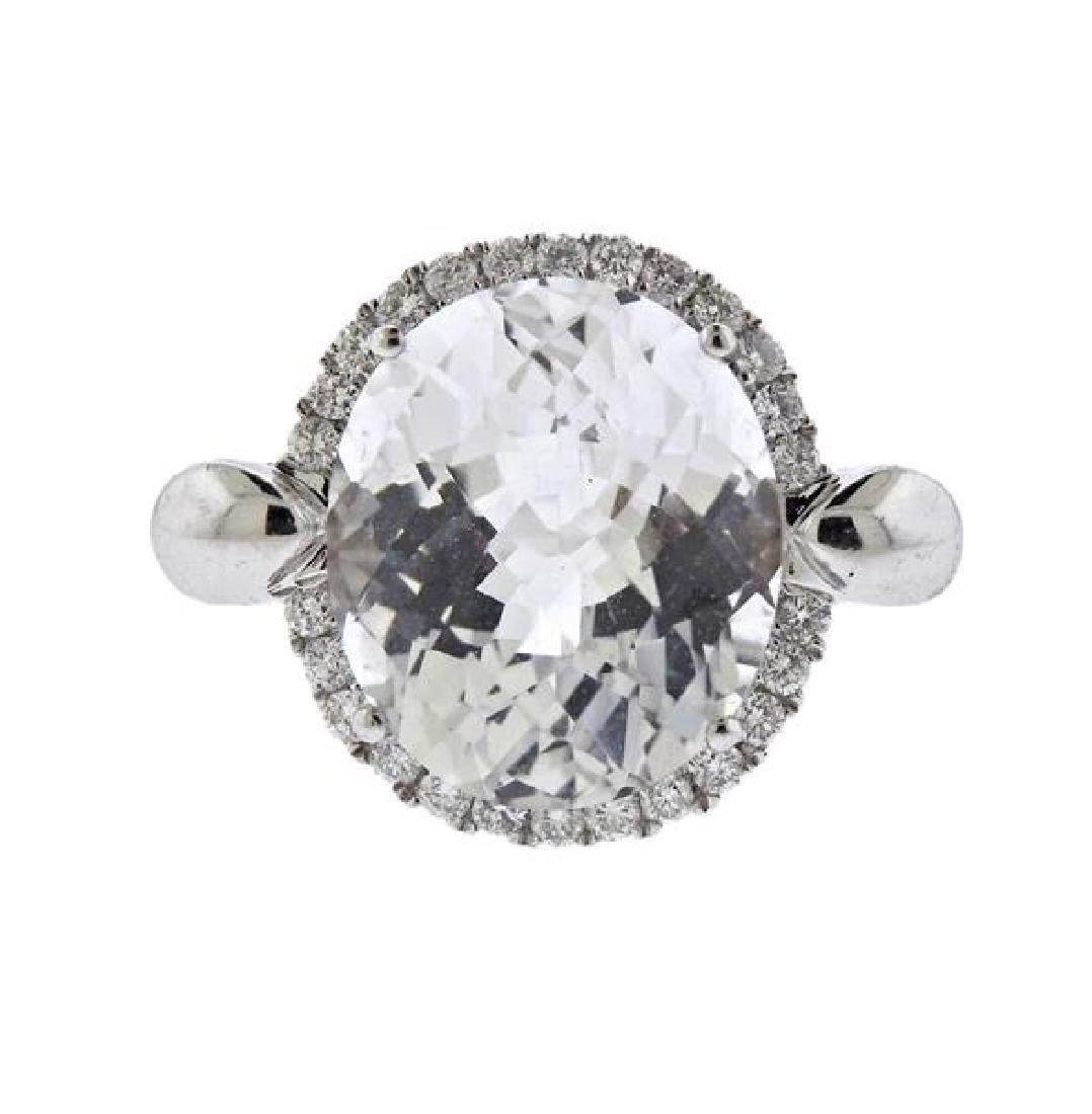 18K Gold Diamond Clear Stone Ring