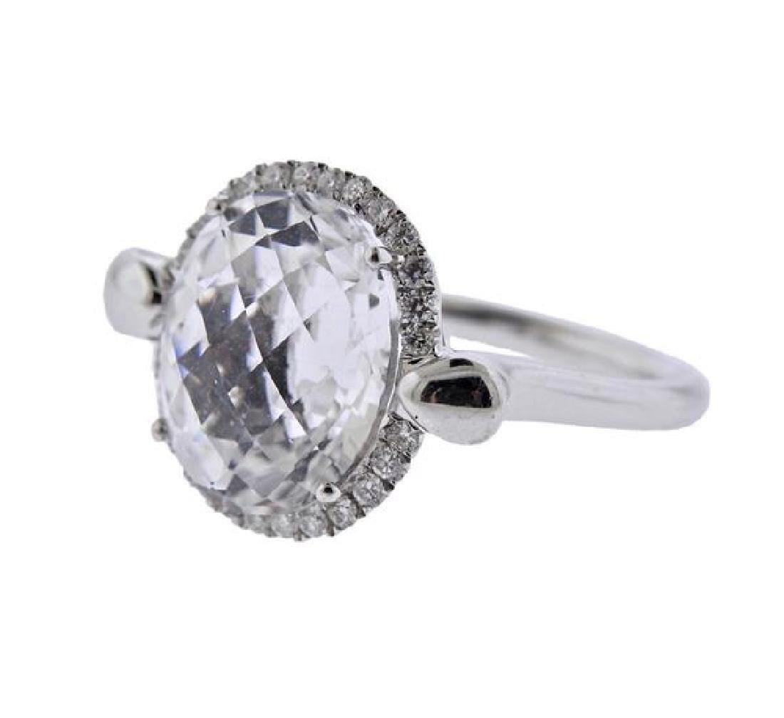 18K Gold Diamond Clear Stone Ring - 2