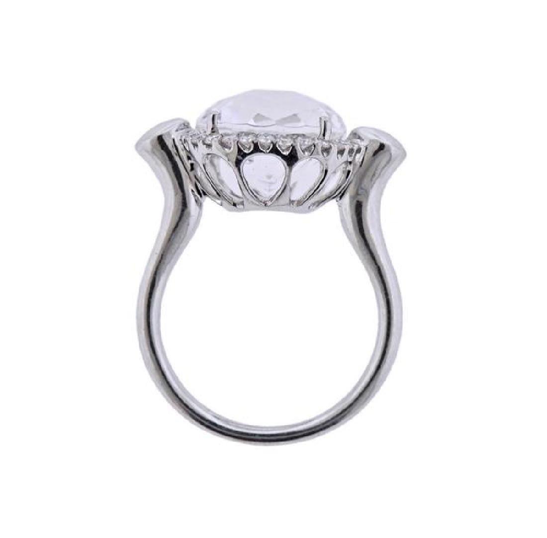 18K Gold Diamond Clear Stone Ring - 3