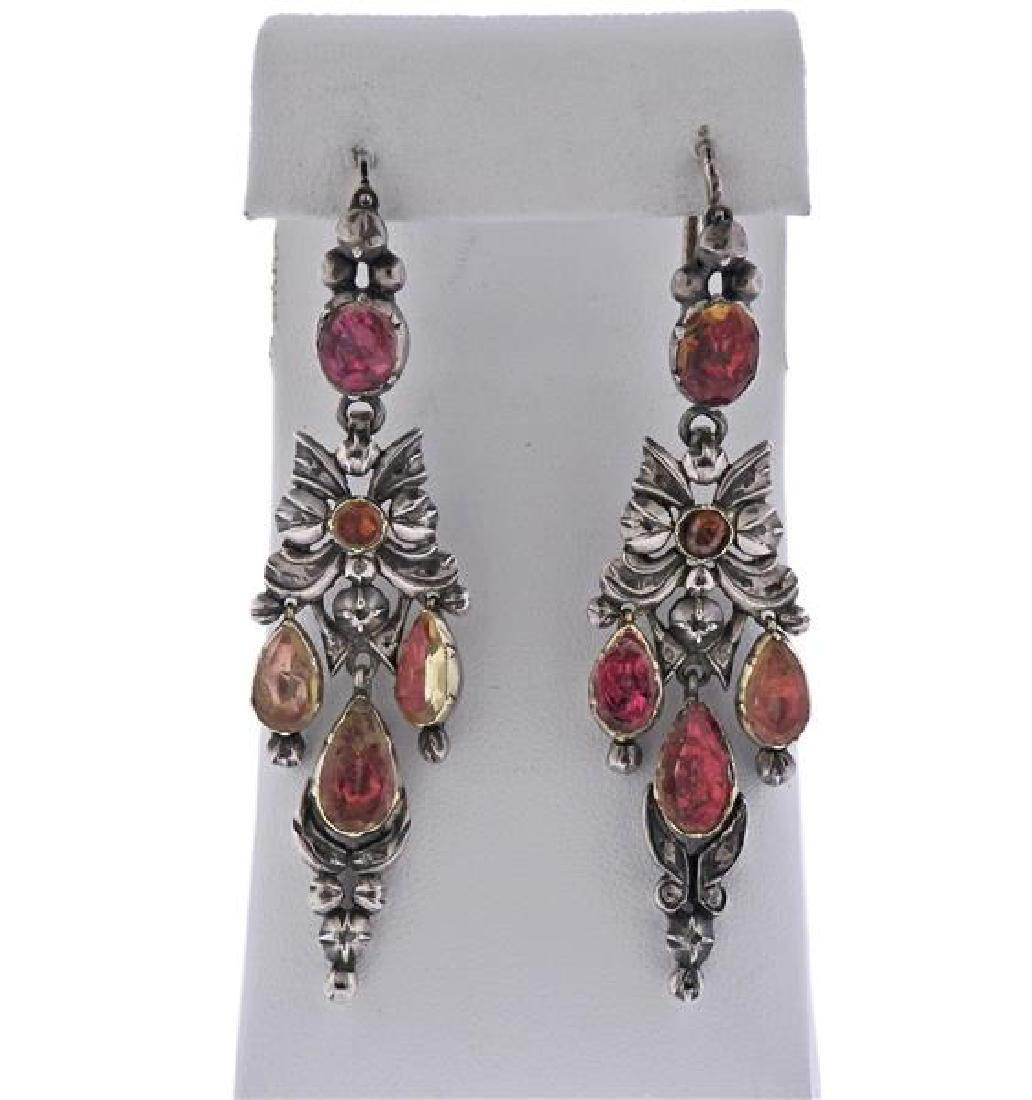 Silver Colored Stone Dangle Earrings