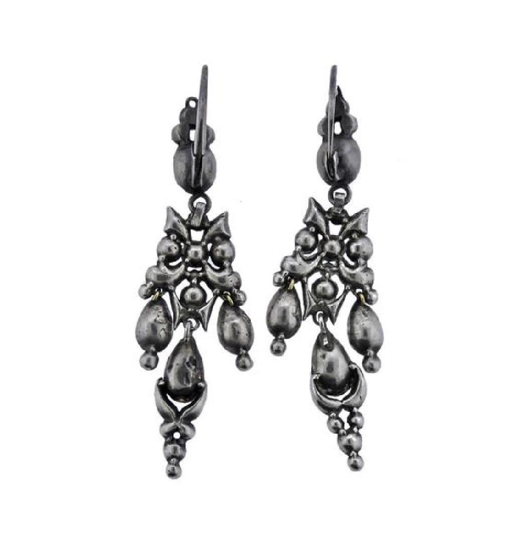 Silver Colored Stone Dangle Earrings - 2