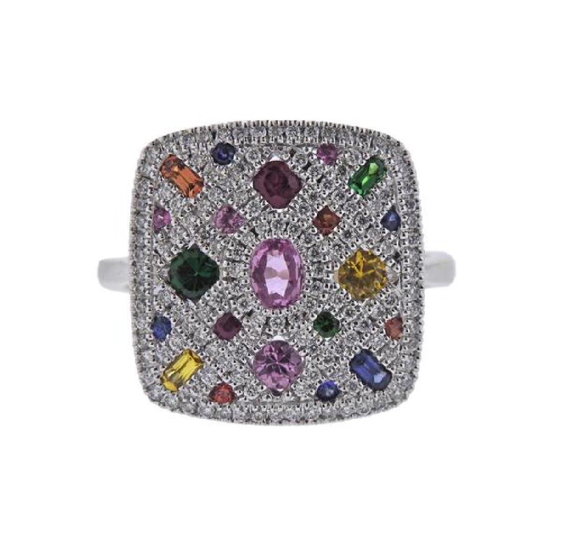 14K Gold Diamond Colored Stone Ring