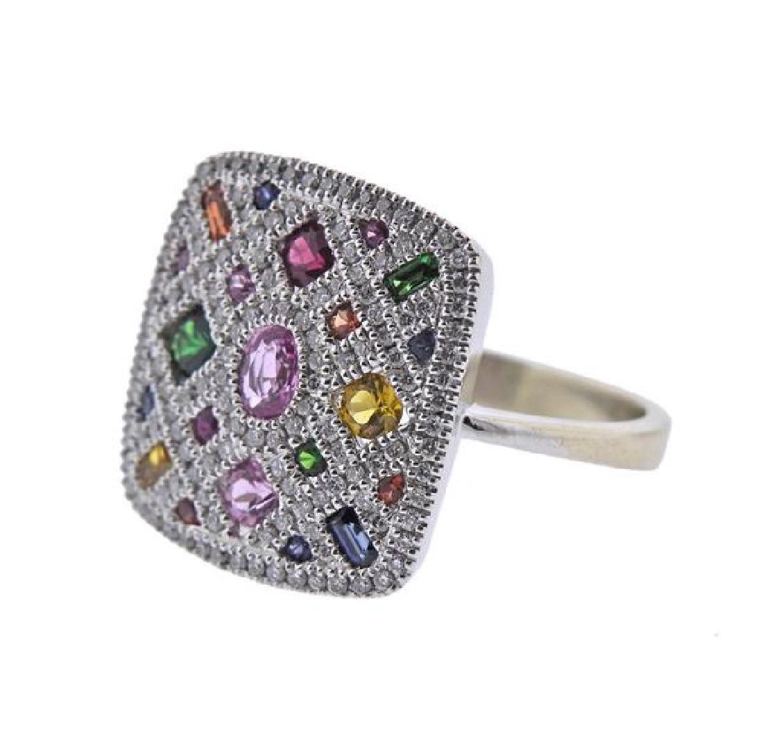 14K Gold Diamond Colored Stone Ring - 2