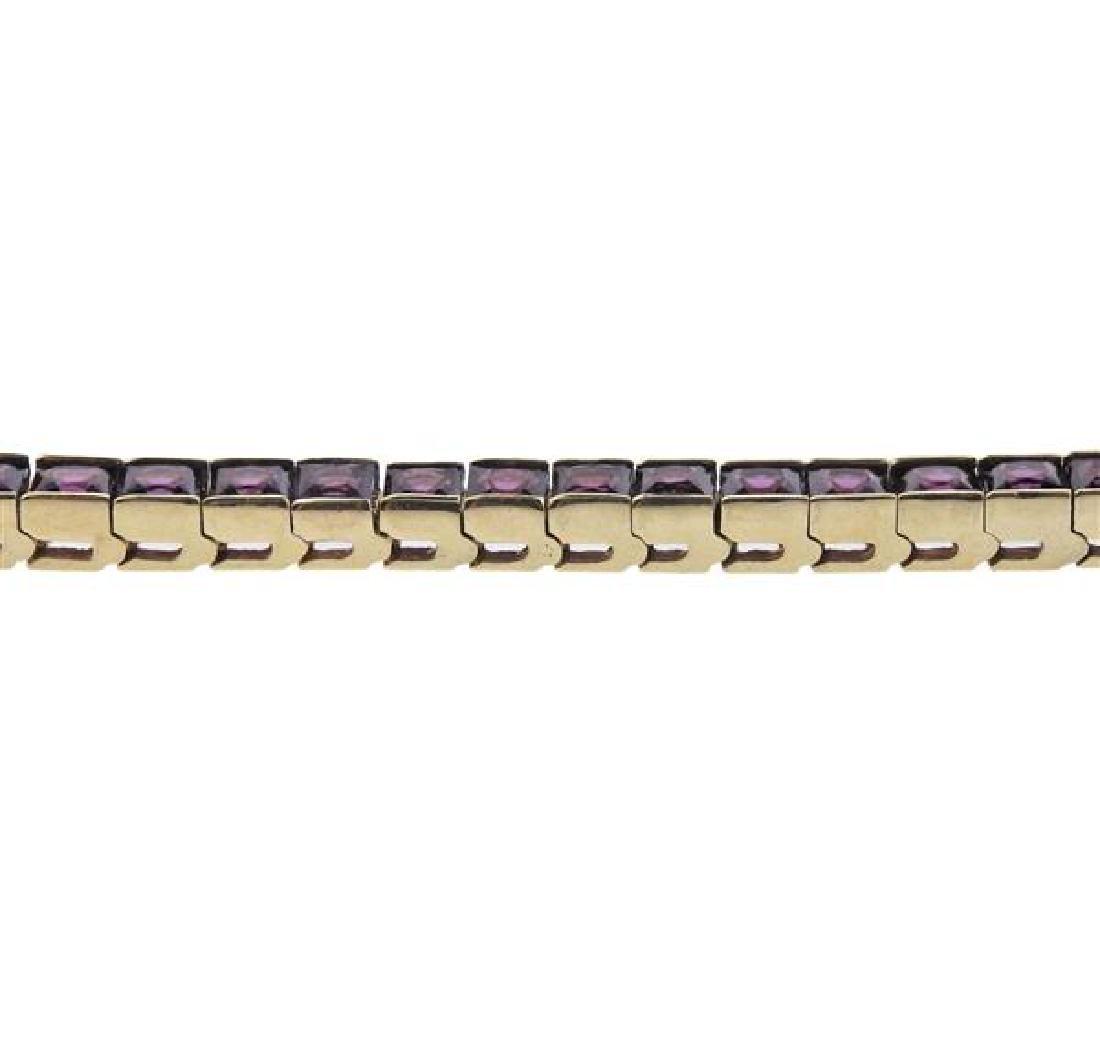 14K Gold Purple Gemstone Line Bracelet - 3