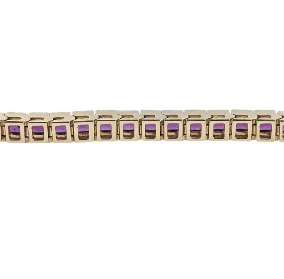 14K Gold Purple Gemstone Line Bracelet - 4