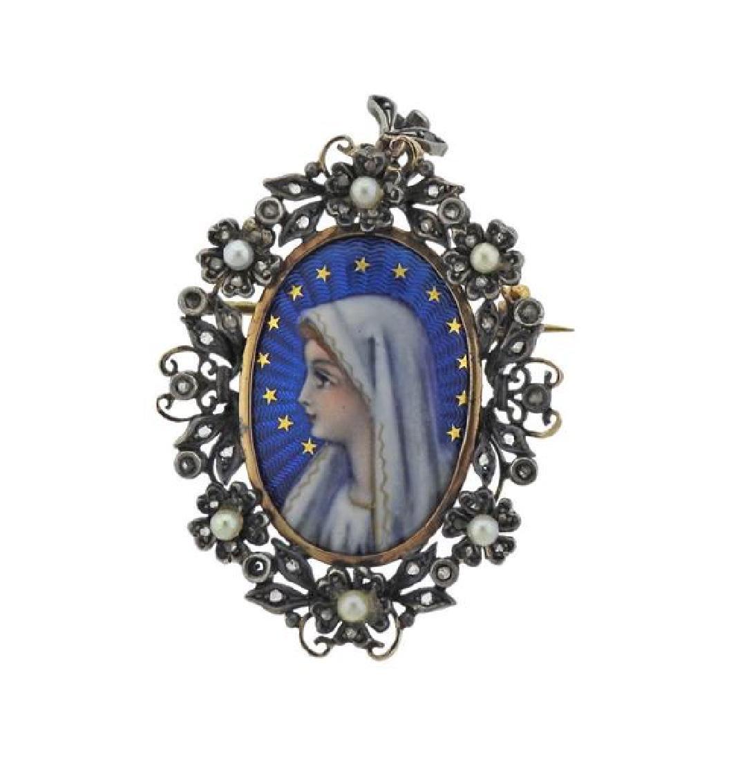 Antique 18K Gold Silver Diamond Pearl Enamel Brooch