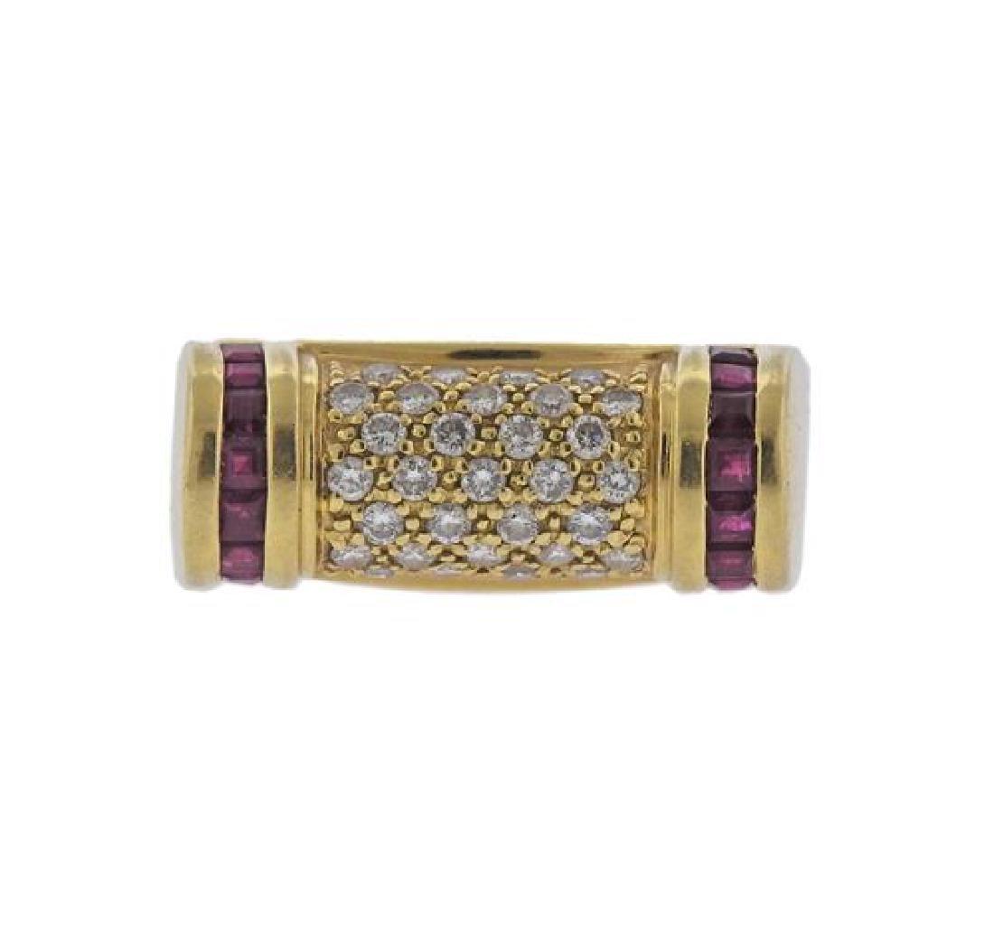 18K Gold Diamond Ruby Ring - 2