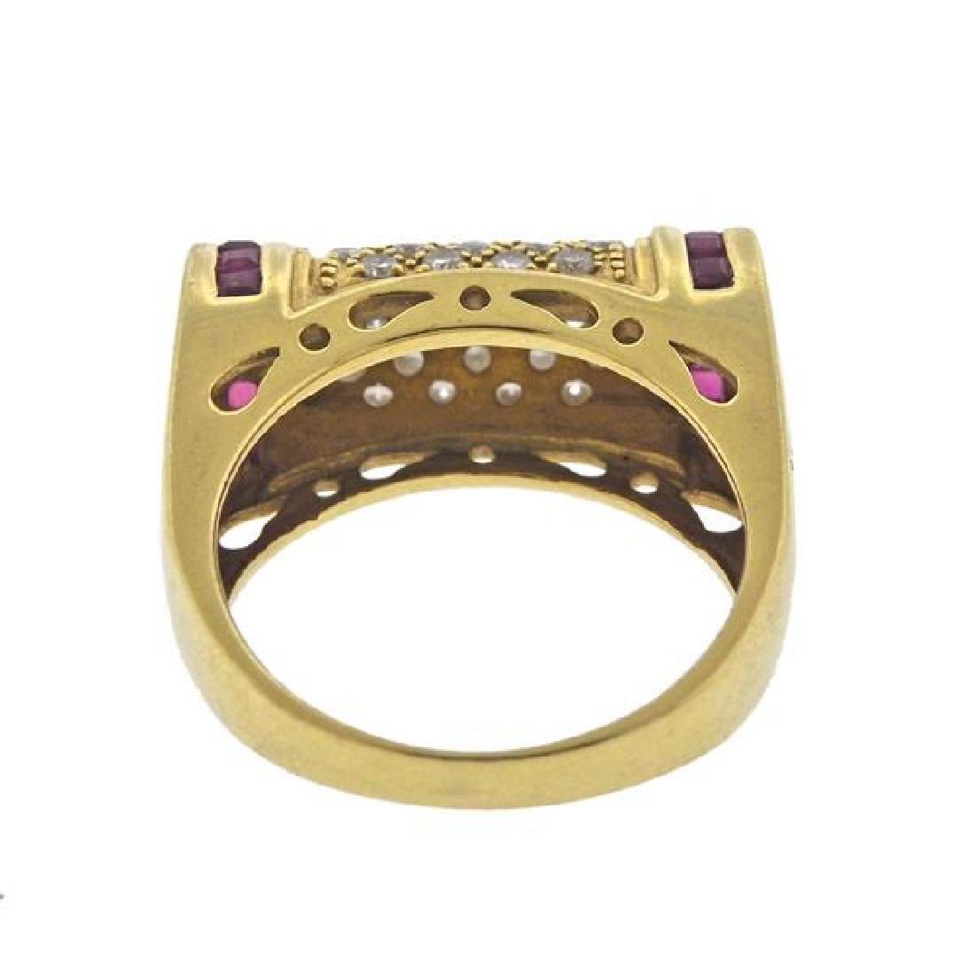 18K Gold Diamond Ruby Ring - 3