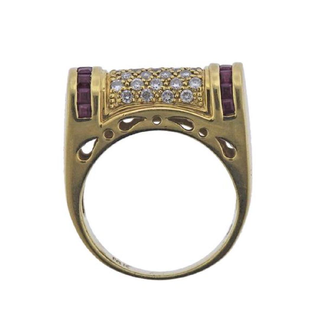 18K Gold Diamond Ruby Ring - 4