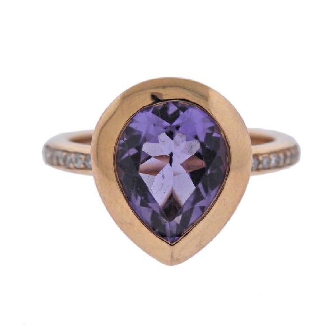 A & Furst Picnic 18K Gold Diamond Amethyst Ring
