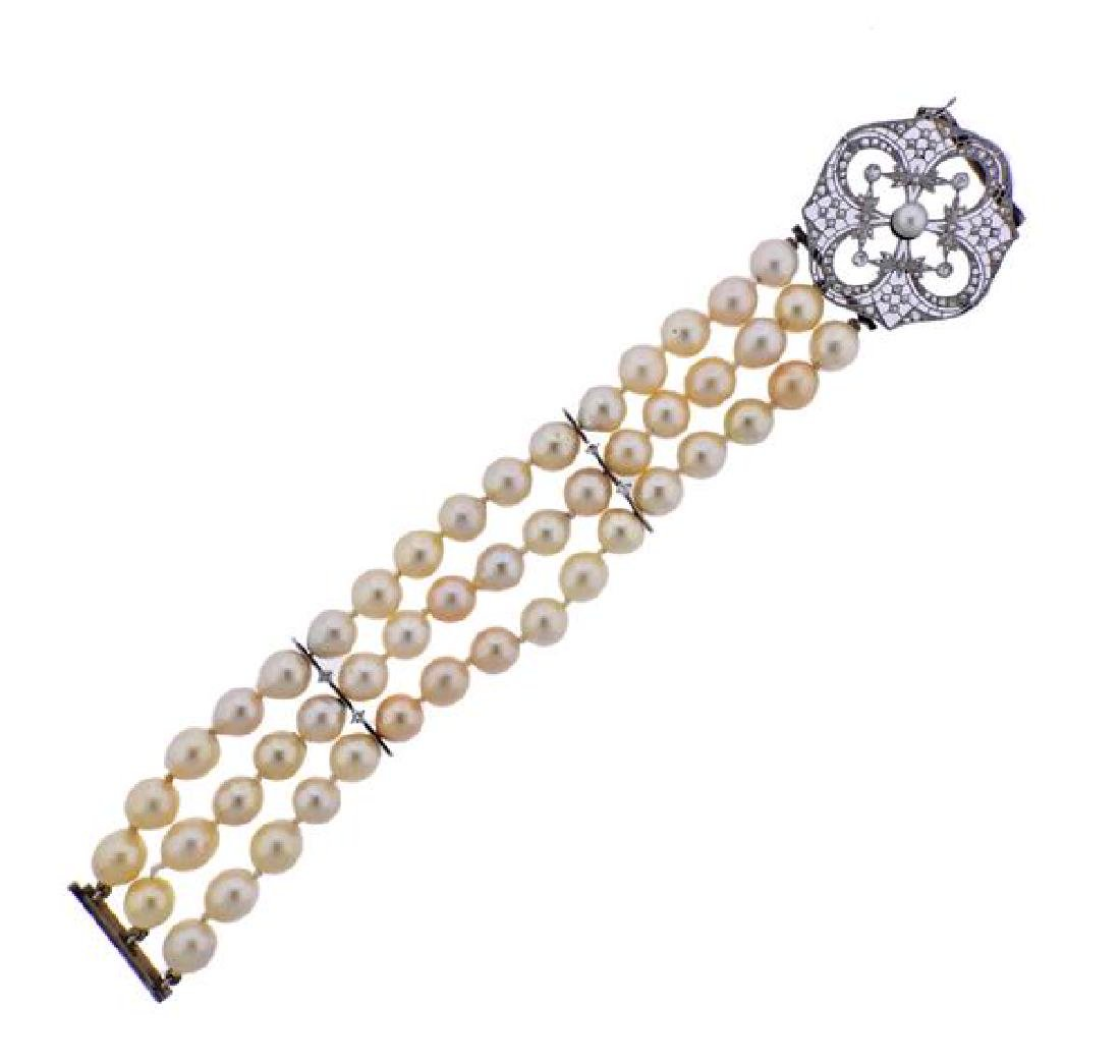 Platinum Gold Diamond Pearl Three Strand Bracelet