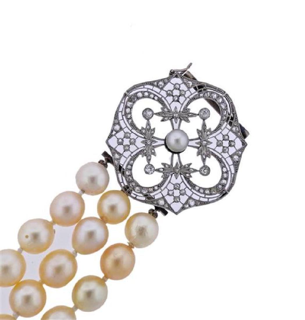 Platinum Gold Diamond Pearl Three Strand Bracelet - 2