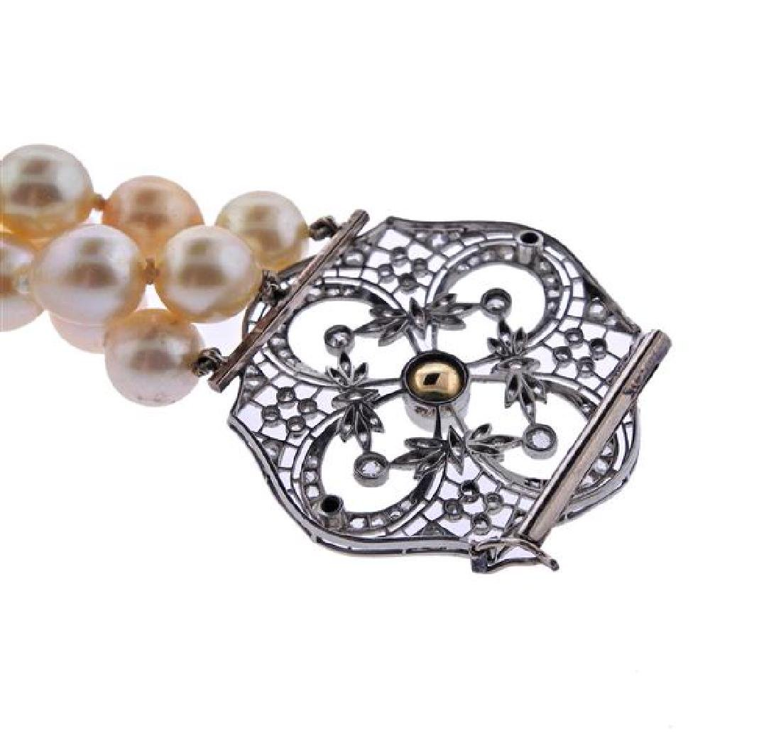 Platinum Gold Diamond Pearl Three Strand Bracelet - 4