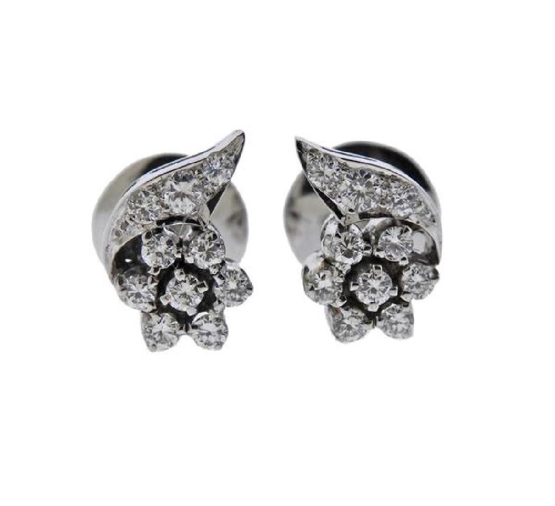 18K Gold Diamond Flower Earrings