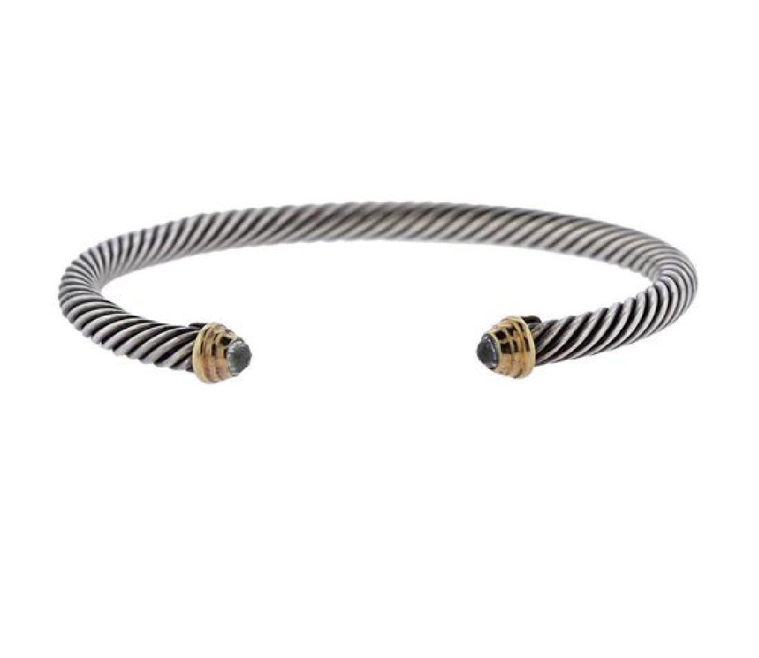 David Yurman Silver 18K Gold Topaz Cuff Bracelet