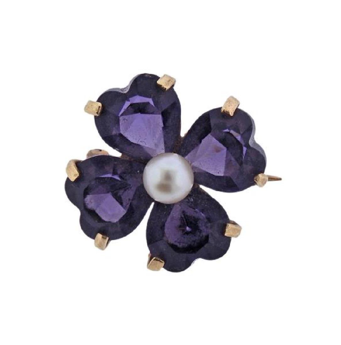 14K Gold Pearl Purple Stone Flower Brooch