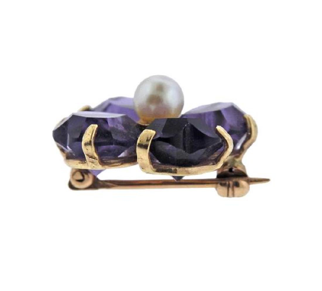 14K Gold Pearl Purple Stone Flower Brooch - 2