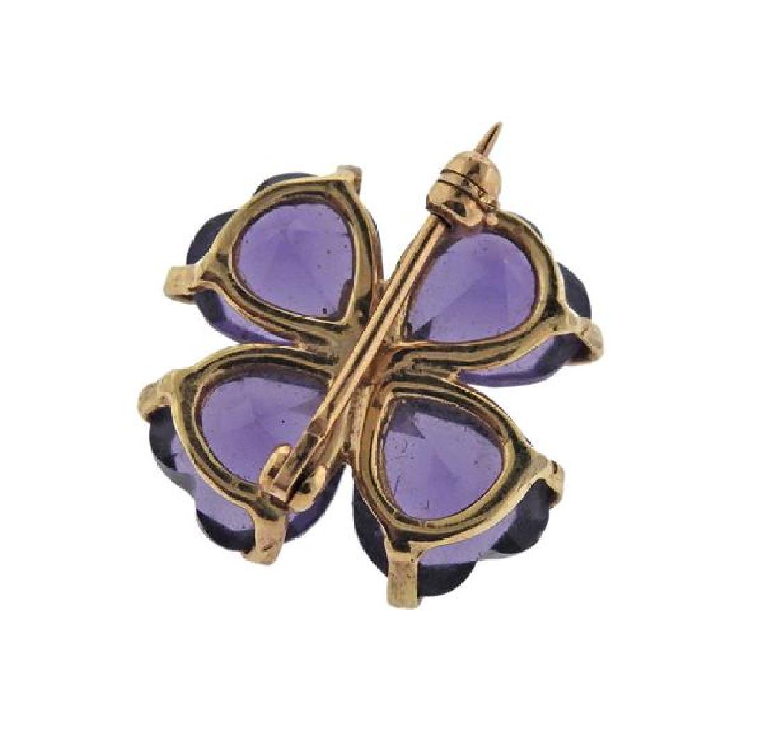 14K Gold Pearl Purple Stone Flower Brooch - 3