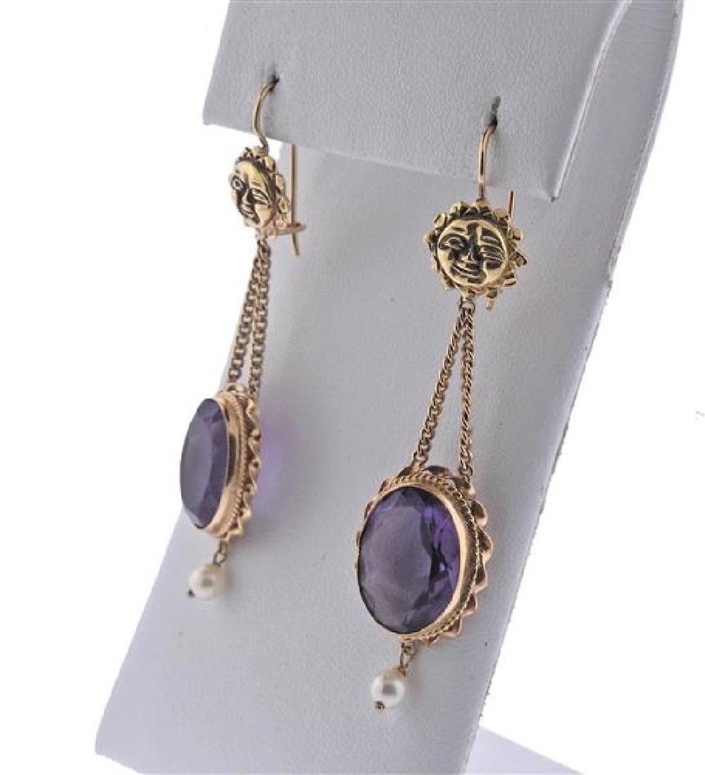 14K Gold Purple Stone Pearl Earrings Ring Set - 3