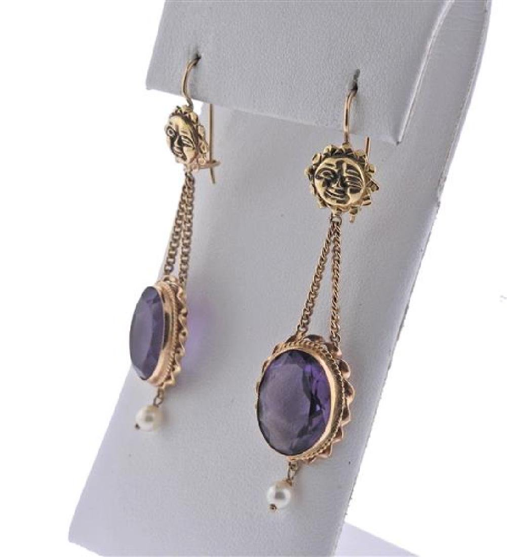 14K Gold Purple Stone Pearl Earrings Ring Set - 3