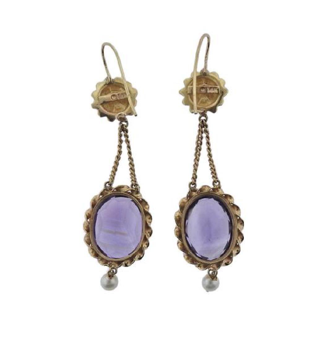 14K Gold Purple Stone Pearl Earrings Ring Set - 4