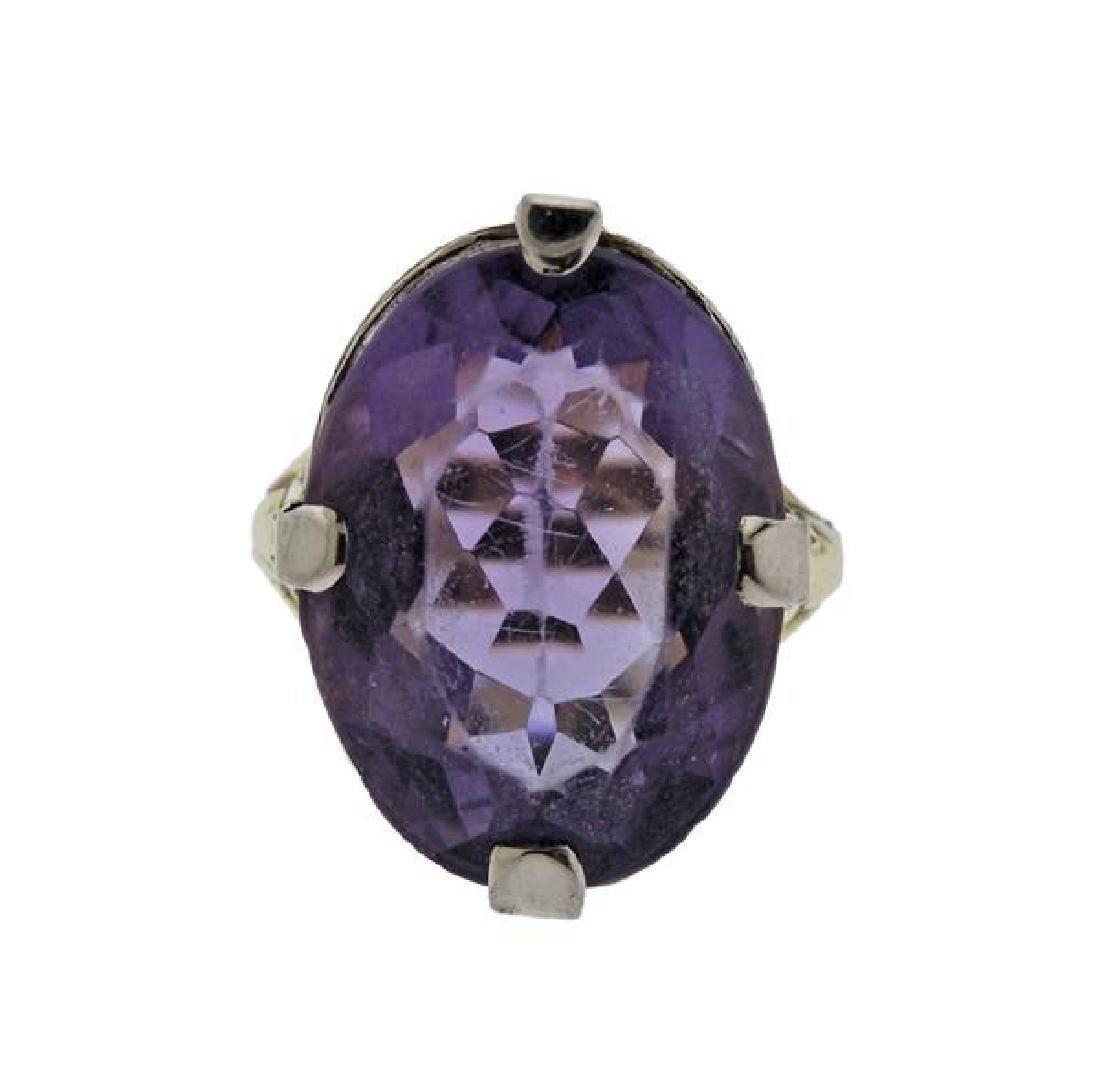 14K Gold Purple Stone Pearl Earrings Ring Set - 5